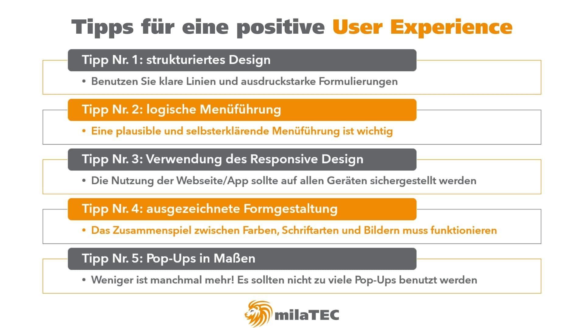 Grafik Tipps für eine positive User Experience