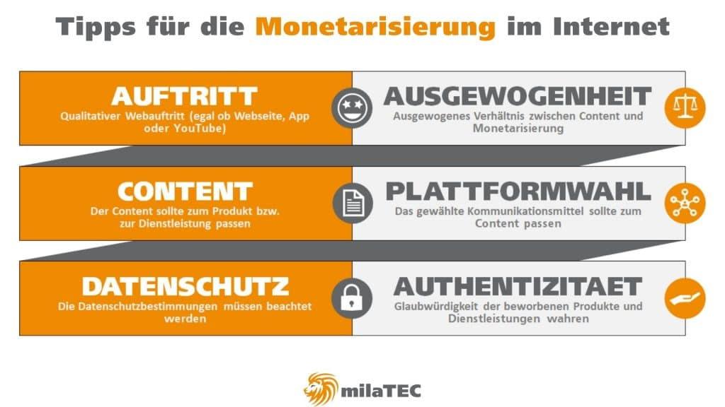 Monetarisierung – Tipps